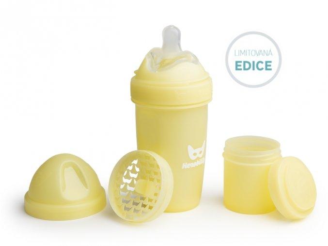 Herobility kojenecká láhev HeroBottle 240 ml žlutá limited