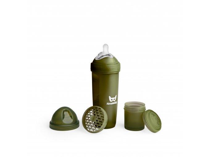 Herobility kojenecká láhev HeroBottle 340ml olivová (2)