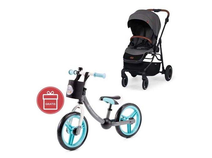 Kočárek sportovní All Road Ash Grey Kinderkraft + Detské odrážadlo 2WAY Next Turquoise