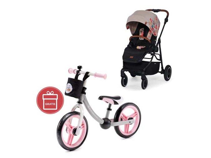 Kočárek sportovní All Road Bird Pattern Kinderkraft + Detské odrážadlo 2WAY Next Light pink