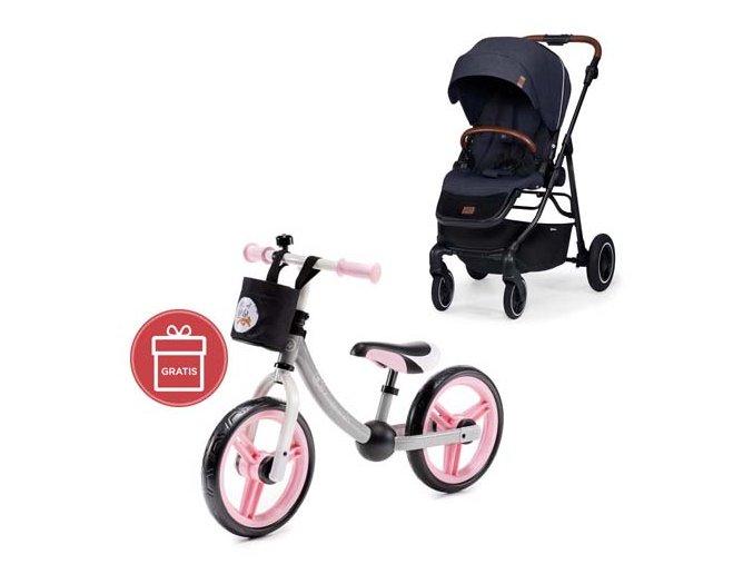 Kočárek sportovní All Road Imperial Blue Kinderkraft + Detské odrážadlo 2WAY Next Light pink
