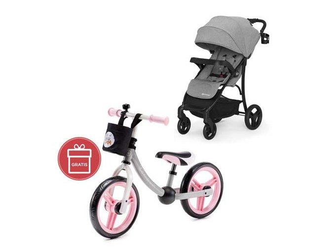 Kočárek sportovní Cruiser grey Kinderkraft + Detské odrážadlo 2WAY Next Light pink