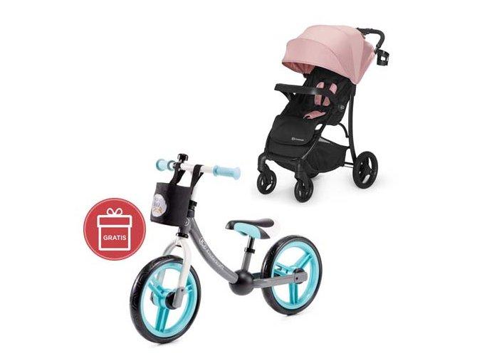 Kočárek sportovní Cruiser pink Kinderkraft + Detské odrážadlo 2WAY Next Turquoise
