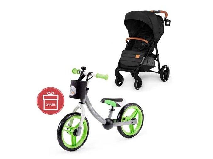Kočárek sportovní Grande black Kinderkraft + Detské odrážadlo 2WAY Next Green/Gray