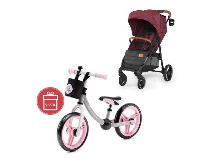 Kočárek sportovní Grande burgundy Kinderkraft + Detské odrážadlo 2WAY Next Light pink