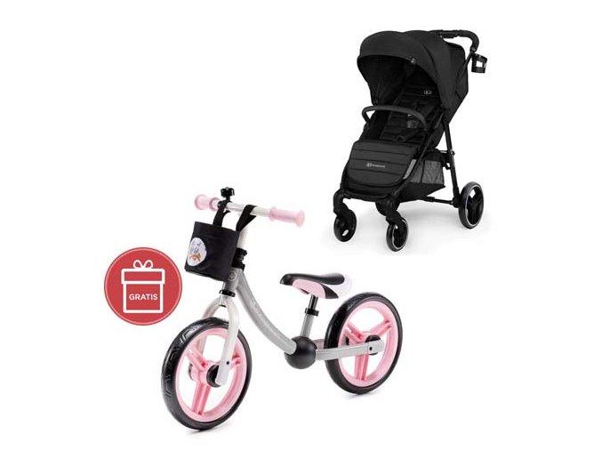 Kočárek sportovní Grande City Black Kinderkraft + Detské odrážadlo 2WAY Next Light pink