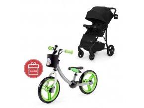 Kočárek sportovní Cruiser black Kinderkraft + Detské odrážadlo 2WAY Next Green/Gray