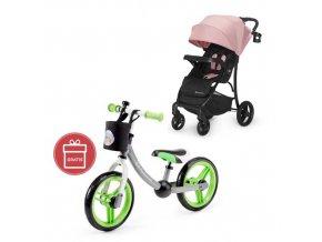 Kočárek sportovní Cruiser pink Kinderkraft + Detské odrážadlo 2WAY Next Green/Gray