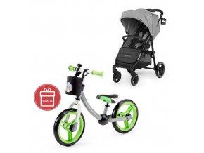 Kočárek sportovní Grande City Grey Kinderkraft + Detské odrážadlo 2WAY Next Green/Gray