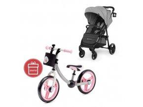 Kočárek sportovní Grande City Grey Kinderkraft + Detské odrážadlo 2WAY Next Light pink