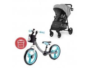 Kočárek sportovní Grande City Grey Kinderkraft + Detské odrážadlo 2WAY Next Turquoise