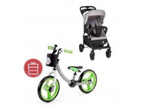 PETITE&MARS Kočárek sportovní Easy - Shadow Grey + Dětské odrážedlo 2way Next Green/Gray
