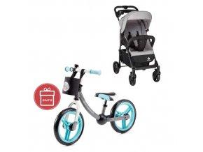 PETITE&MARS Kočárek sportovní Easy - Shadow Grey + Dětské odrážedlo 2way Next Turquoise