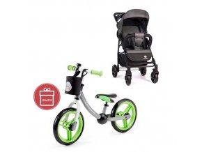 PETITE&MARS Kočárek sportovní Easy - Carbon Grey + Dětské odrážedlo 2way Next Green/Gray