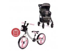 PETITE&MARS Kočárek sportovní Easy - Carbon Grey + Dětské odrážedlo 2way Next Light pink