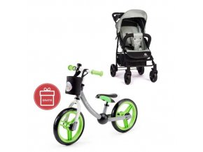 Kočárek sportovní Easy Iron Green 2020 Petite&Mars + Detské odrážadlo 2WAY Next Green/Gray