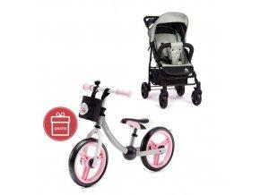 PETITE&MARS Kočárek sportovní Easy - Iron Green + Dětské odrážedlo 2way Next Light pink