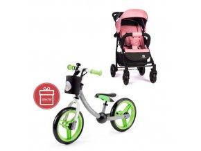PETITE&MARS Kočárek sportovní Easy - Rose Pink + Dětské odrážedlo 2way Next Green/Gray