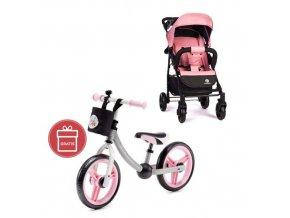 PETITE&MARS Kočárek sportovní Easy - Rose Pink + Dětské odrážedlo 2way Next Light pink