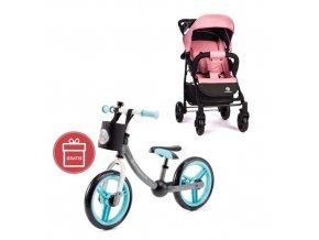 PETITE&MARS Kočárek sportovní Easy - Rose Pink + Dětské odrážedlo 2way Next Turquoise