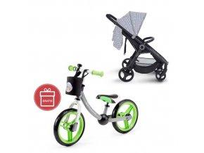 Kočárek sportovní konstrukce Street černý Petite&Mars + Detské odrážadlo 2WAY Next Green/Gray