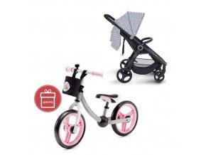 Kočárek sportovní konstrukce Street černý Petite&Mars + Detské odrážadlo 2WAY Next Light pink