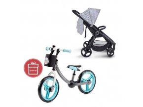 Kočárek sportovní konstrukce Street černý Petite&Mars + Detské odrážadlo 2WAY Next Turquoise
