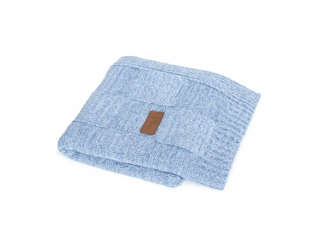 Pletená deka Ceba Mřížky Modrá