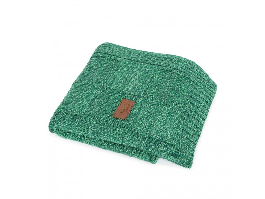 Pletená deka Ceba Mřížky Smaragdová