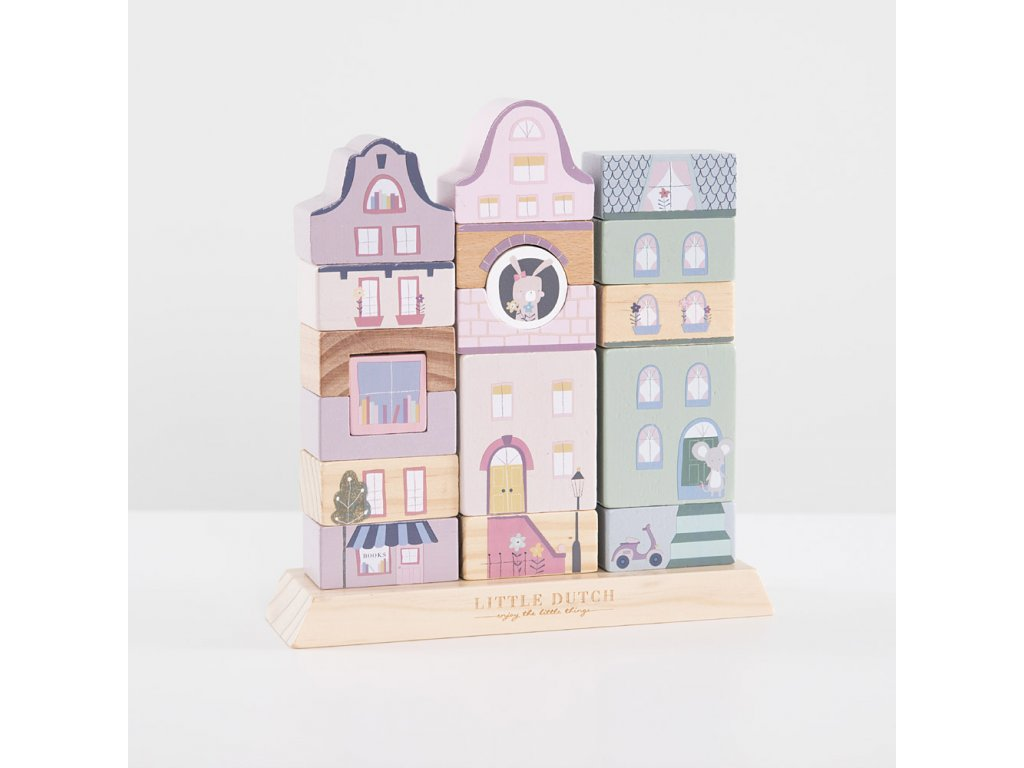 Stavebnicové kostky Adventure růžové dřevěné Little Dutch