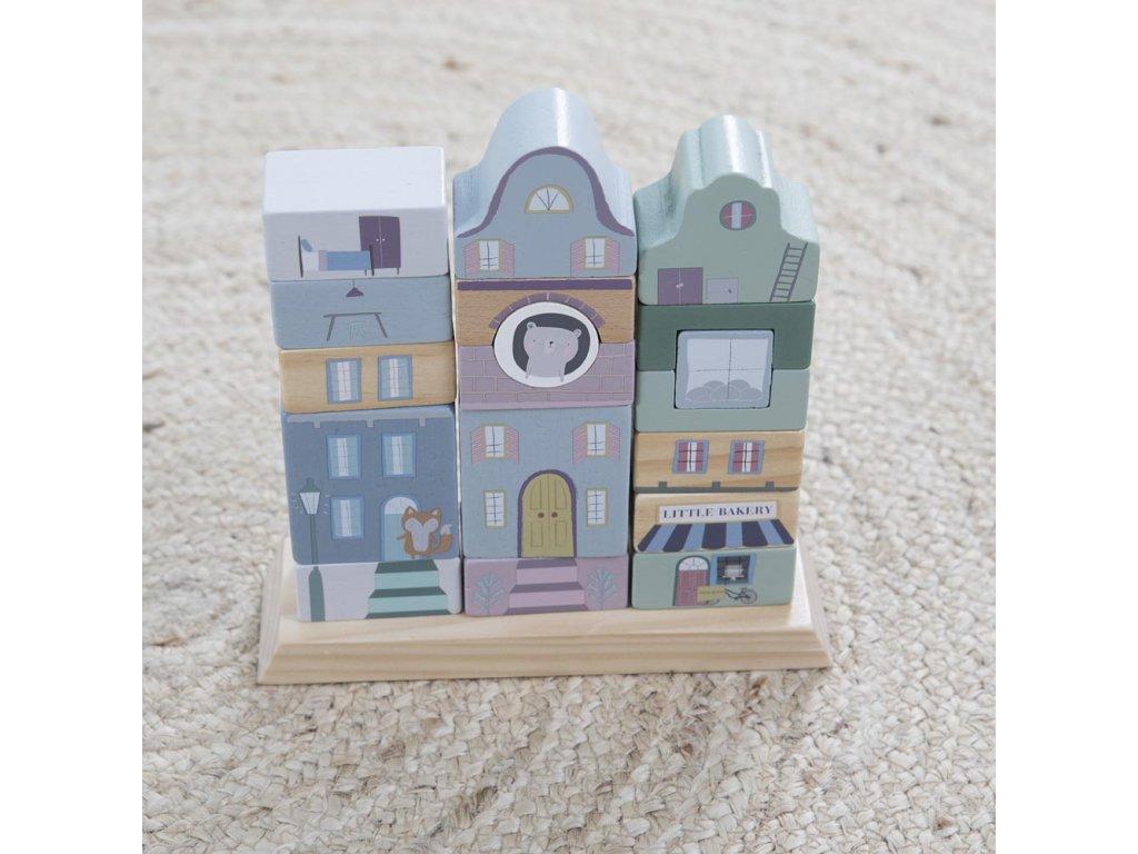 Stavebnicové kostky Adventure modré dřevěné Little Dutch