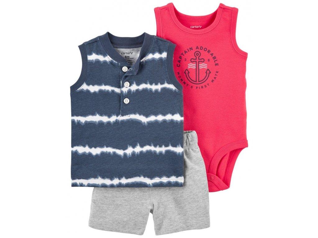 CARTER'S Set 3dílný body tílko, tričko bez rukávů, kalhoty kr. Blue Ty chlapec 18 m, vel. 86