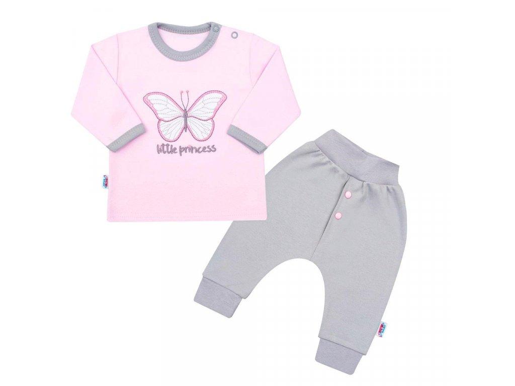 2-dílná kojenecká bavlněná soupravička New Baby Little Princess růžovo-šedá