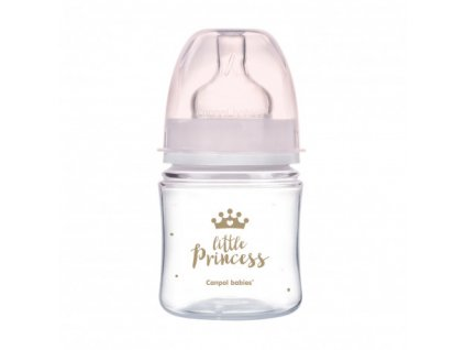 CANPOL BABIES Lahev se širokým hrdlem Royal Baby 120 ml růžová