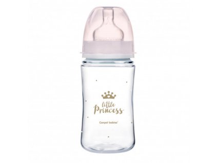 CANPOL BABIES Láhev se širokým hrdlem Royal Baby 240 ml růžová
