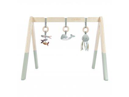Dřevěná hrazdička + 3 zvířátka Ocean mint Little Dutch