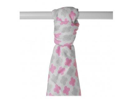 Bambusová osuška  90x100 - Scandinavian Baby Pink Cross