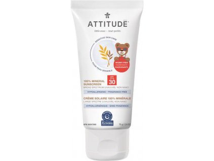 ATTITUDE Dětský 100% minerální opalovací krém (SPF 30) pro suchou a atopickou pokožku bez vůně 75 g