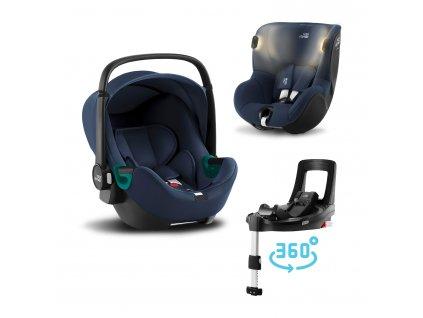 Autosedačka set Baby-Safe 3 i-Size+Flex Base iSense+Autosedačka Dualfix iSense, Indigo Blue