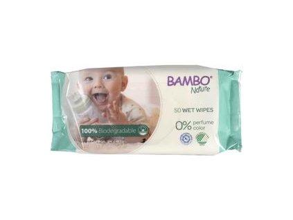 BAMBO Nature Ubrousky vlhčené biologicky rozložitelné, 50 ks
