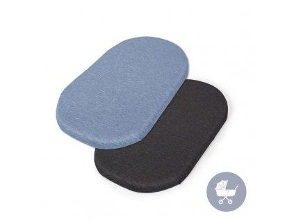 CEBA Prostěradlo do kočárku 73-80 x 30-37 cm 2 ks Dark Grey+Blue