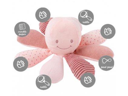 NATTOU Hračka chobotnička edukační 8 aktivit Lapidou pink