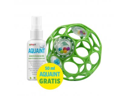 OBALL Hračka Oball RATTLE 10 cm 0m+ seafoam + 50 ml Aquaint
