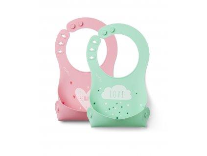 Silikonový bryndák, Pink/Green