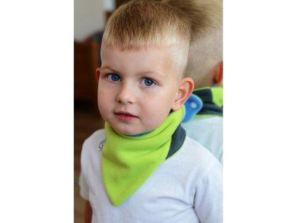 Dětský oboustranný fleecový nákrčník VG modro-limetkový