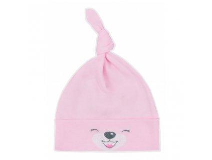 Bavlněná kojenecká čepička Bobas Fashion Lucky růžová