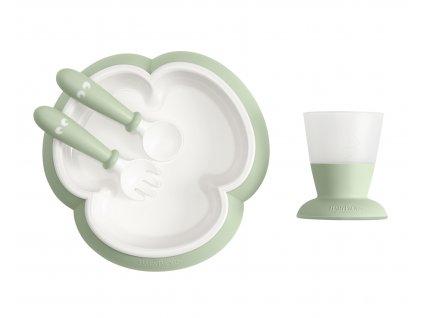 Dětský jídelní set 4 dílný pudrově zelený Babybjorn