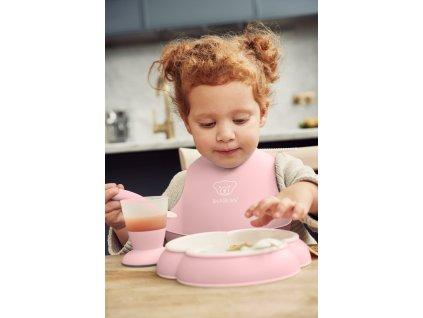 Dětský jídelní set 4 dílný pudrově růžový Babybjorn