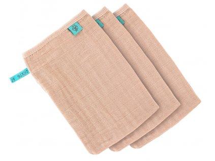 Lässig 4babies mycí rukavice Muslin Wash Glove Set 3 pcs light pink