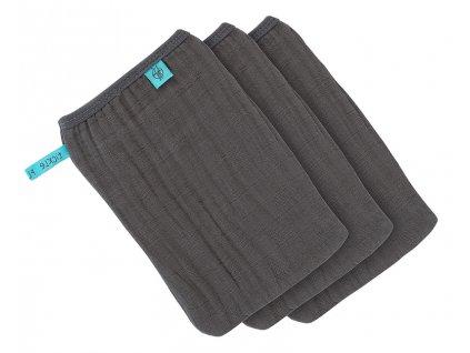 Lässig 4babies mycí rukavice Muslin Wash Glove Set 3 pcs anthracite